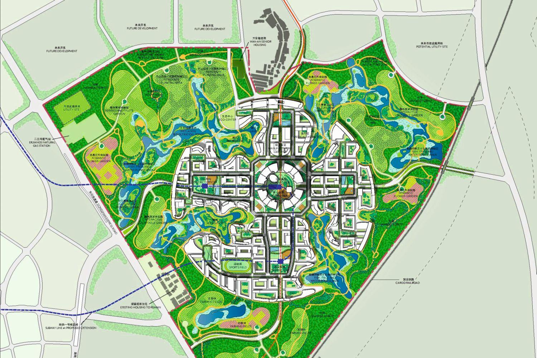 """Urbane Konzepte: Fußläufigkeit war das Ziel der US-Architekten Adrian Smith und Gordon Gill, die in der Nähe von Chengdu die chinesische Modellstadt """"Great City"""" mit 80.000 Einwohnern so geplant haben, dass das Zentrum von jedem Punkt aus in zehn Minuten zu Fuß erreichbar ist. Foto: Adrian Smith + Gordon Gill Architecture LLP"""