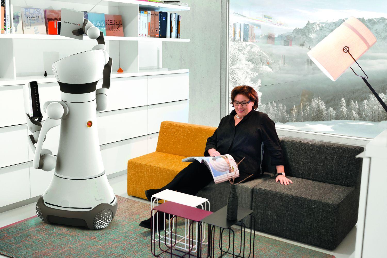 Care-O-bot: Der mobile Roboterassistent unterstützt den Menschen zu Hause. Foto: Phoenix Design (2015)/Fraunhofer IPA