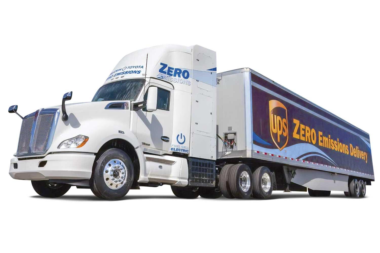 Alpha und Beta: Seit 2017 sind zwei Lkw mit Brennstoffzellenantrieb von Toyota/Kenworth im Testbetrieb unterwegs. Foto: Toyota