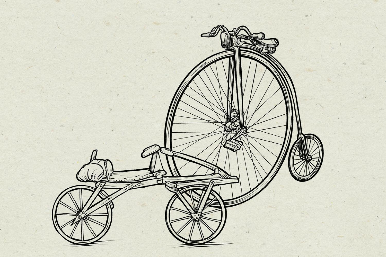 Fahrrad, Illustration: Michael Stach, Papierhintergrund: Tomograf/IstockPhoto