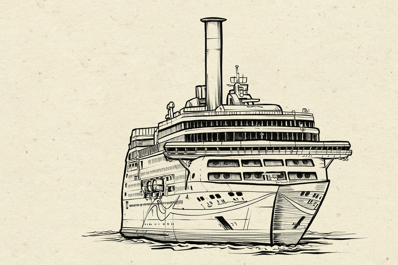 Schiff, Illustration: Michael Stach, Papierhintergrund: Tomograf/IstockPhoto