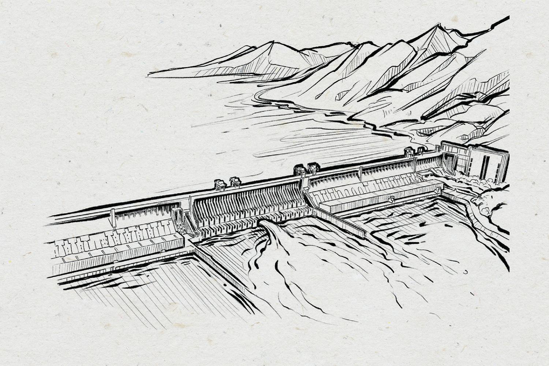 Wasserkraftwerk, Illustration: Michael Stach, Papierhintergrund: Tomograf/IstockPhoto