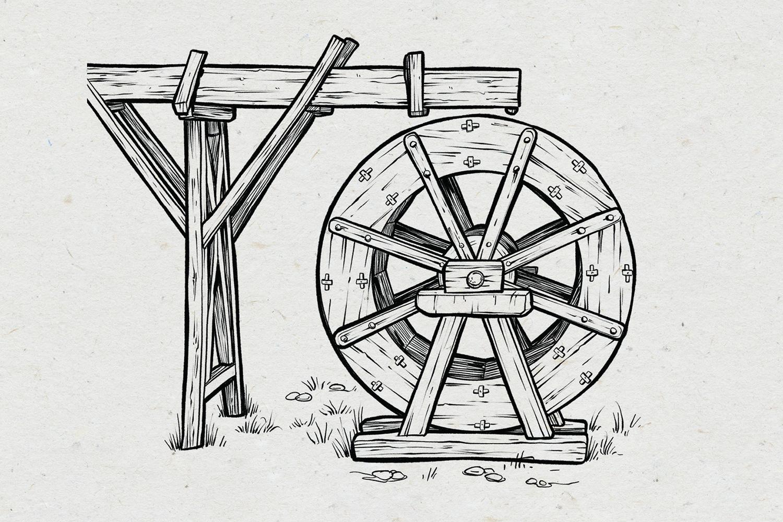 Wasserrad, Illustration: Michael Stach, Papierhintergrund: Tomograf/IstockPhoto