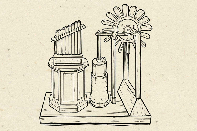 Windflöte, Illustration: Michael Stach, Papierhintergrund: Tomograf/IstockPhoto