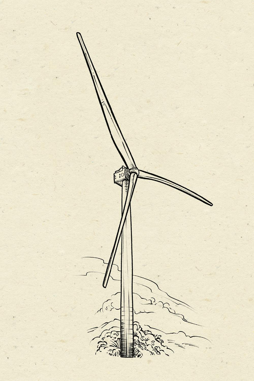 Windrad, Illustration: Michael Stach, Papierhintergrund: Tomograf/IstockPhoto