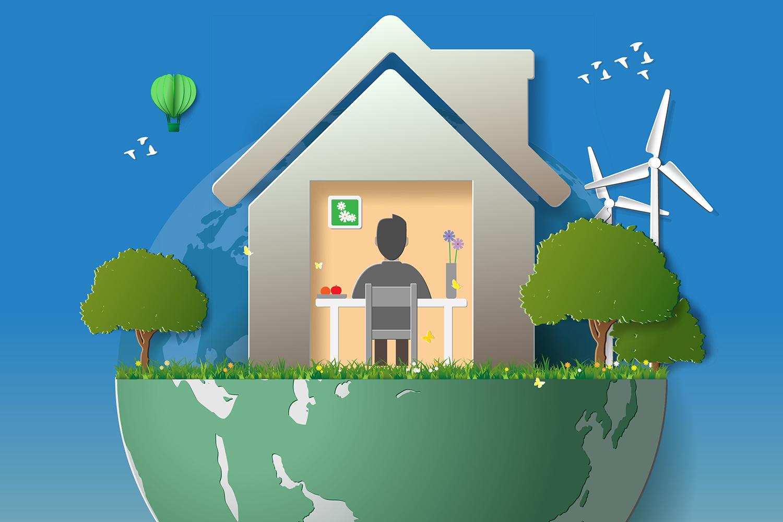 Zu Hause lässt es sich in vielen Bereichen nachhaltig leben. Foto: Shutterstock - SceneNature; Montage: Frieser