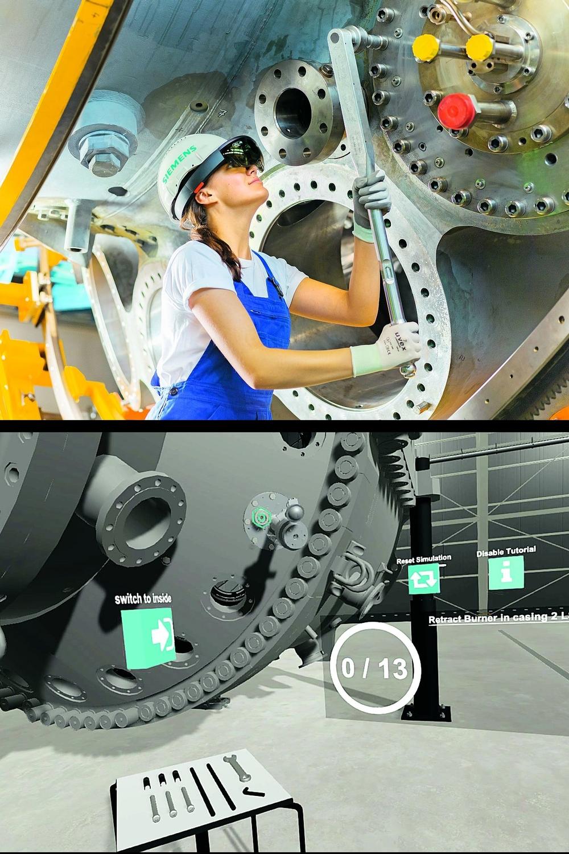 Erweiterte Realität: Wie man Gasturbinen korrekt wartet, vermittelt Siemens Energy unter anderem per Augmented Reality. Foto: VR