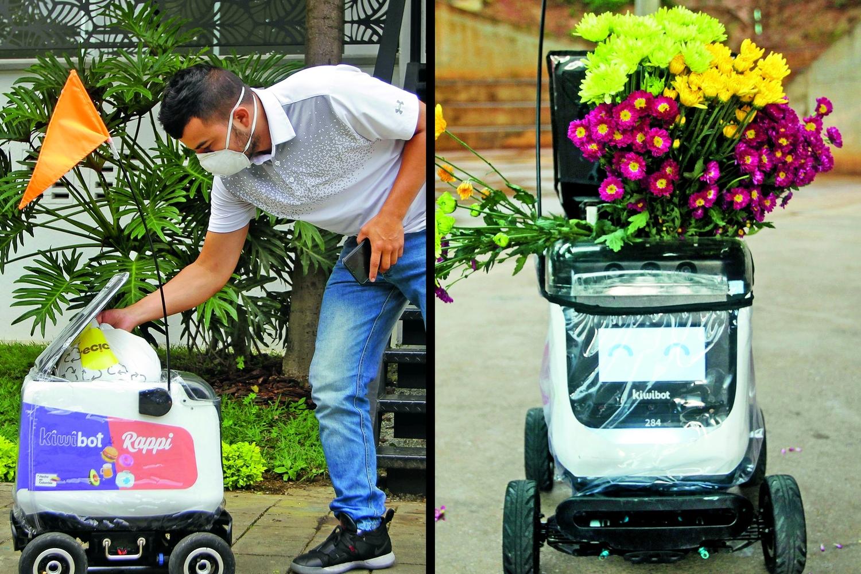 Neue Aufgabe: Neben Essen und Einkäufen gehören auch Blumen zum neuen Liefersortiment von Kiwibot. Foto: GettyImages - Fredy Builes / VIEW Press